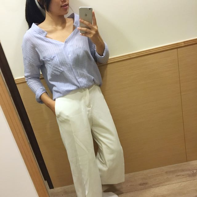 棉麻薄襯衫