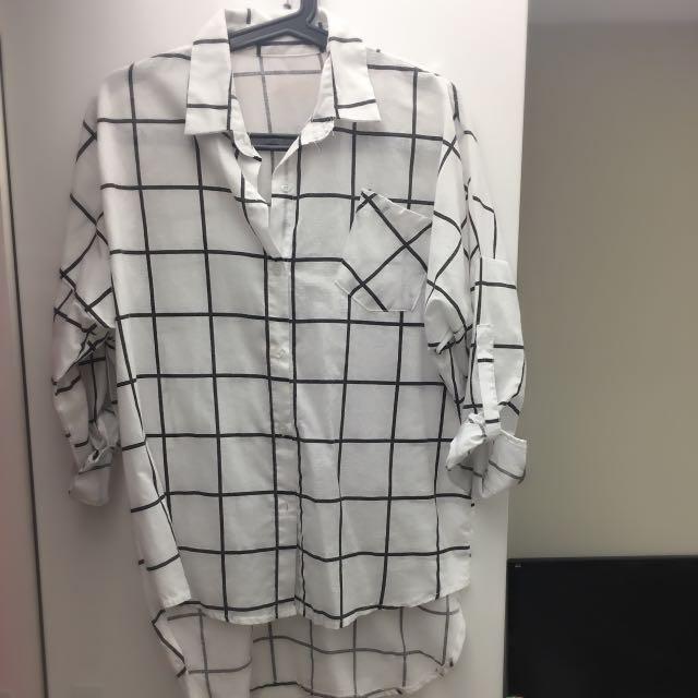 大格紋襯衫