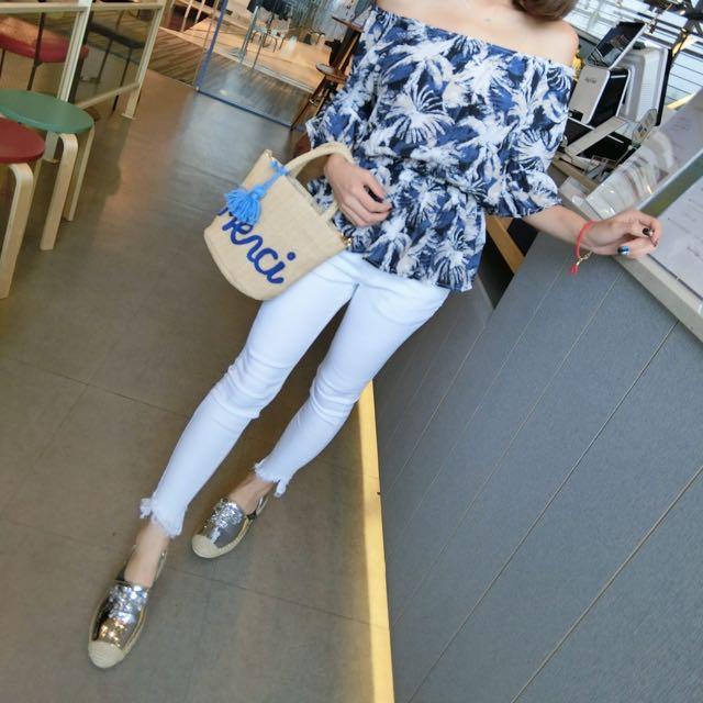 韓國連線#寶石銀色超美草編鞋/平底鞋