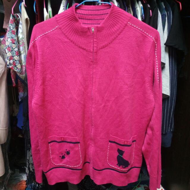 桃紅針織外套