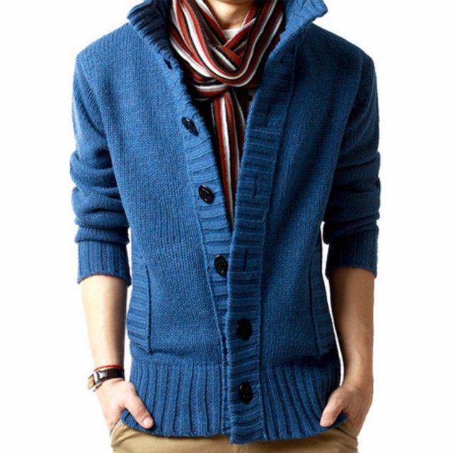 針織毛衣外套 (WS160930-1) 秋冬新品韓系加厚立領型男保暖針織毛衣外套 有4色 M-2XL
