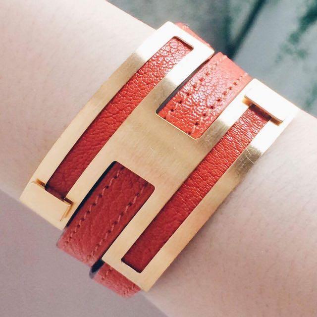 Authentic Hermés Orange Leather Bracelet