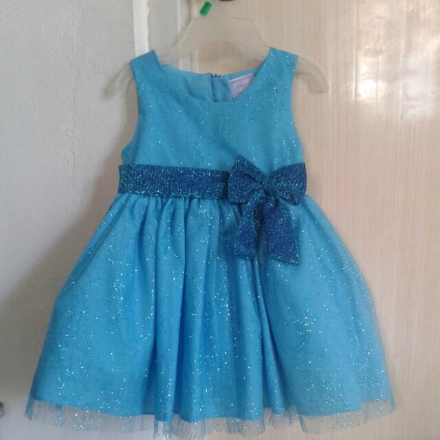 Baby Girl Blue Glittery Gown
