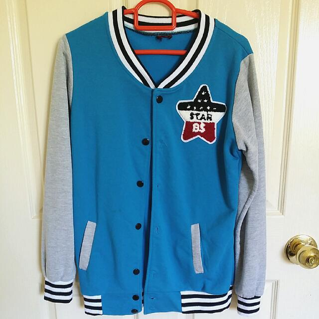 Blue/grey Baseball Jacket