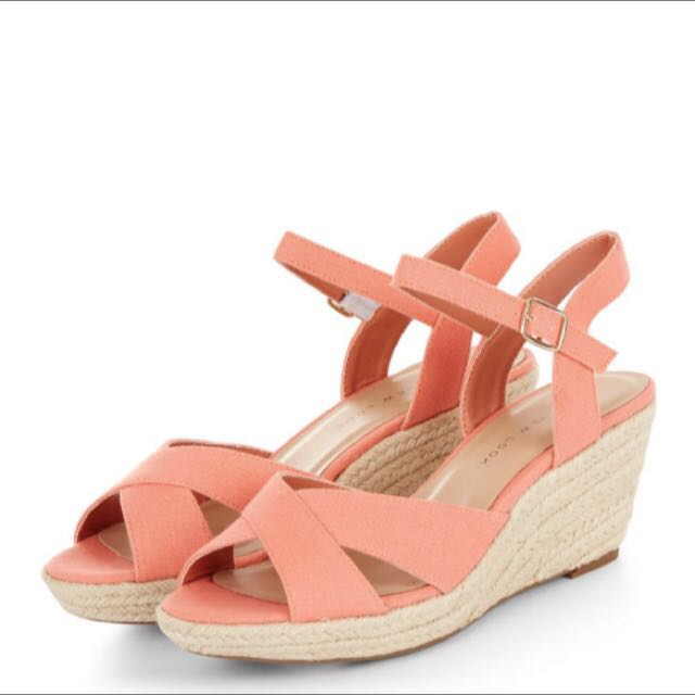 utterly stylish official site outlet store sale BN NewLook Coral Canvas Cross Strap Wedges