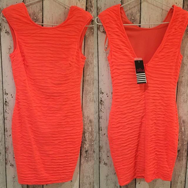Fluro Orangey Pink Dress