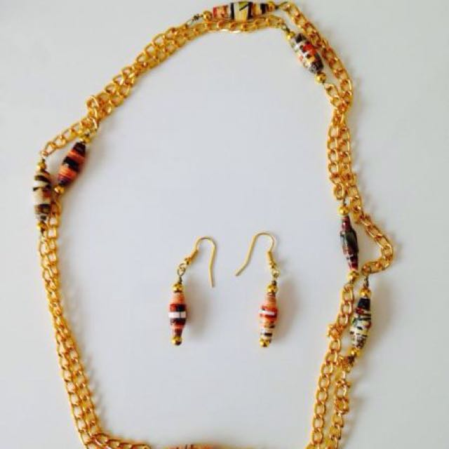 Gold Paper necklace earrings set made paper beads handcrafted