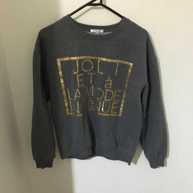 Grey Jumper with Gold design
