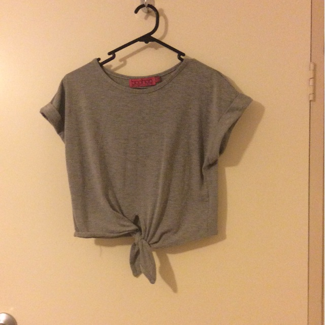 Grey tied crop top