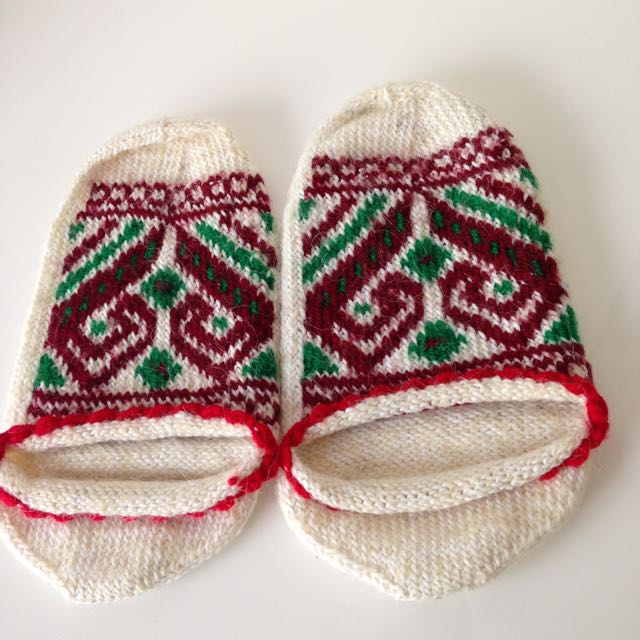 Handcrafted  wool slippers knitted handmade Priglavke
