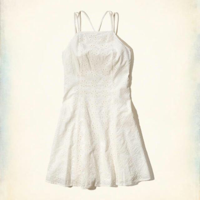 Hollister White Embroidered Dress