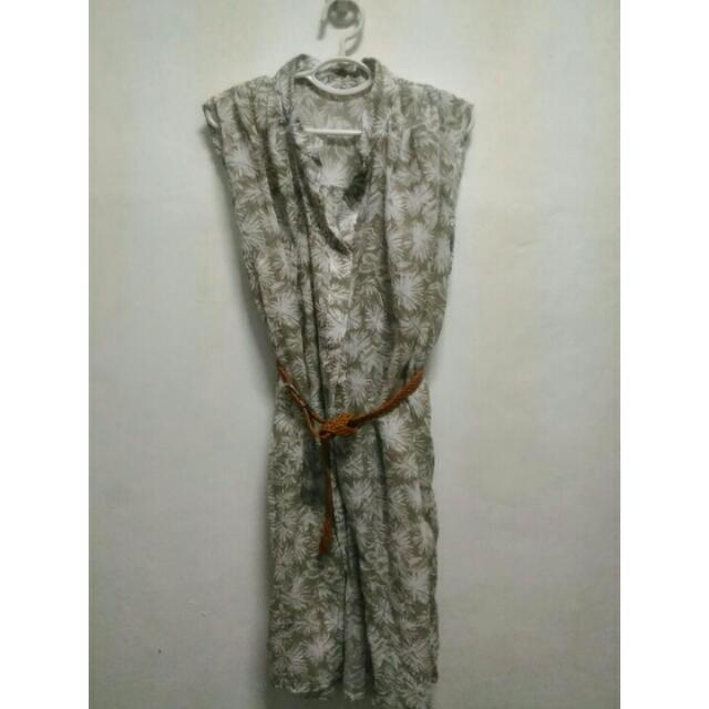 Korean Floral Polo Dress with Belt