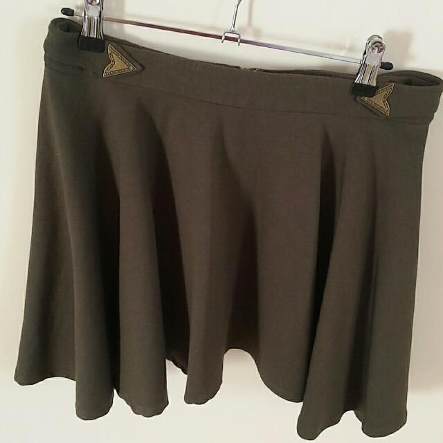 Ladakh Skater Olive Green Skirt