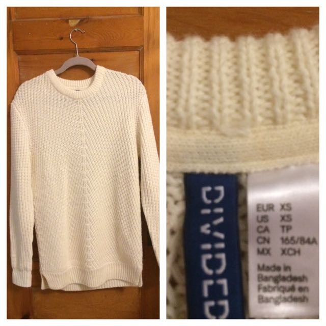 Mens xs White Knitted Sweater