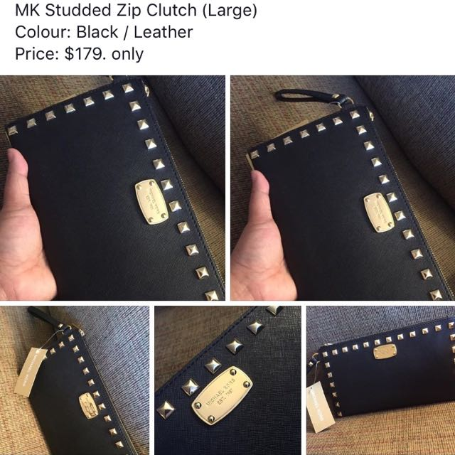 MK Studded zip Clutch