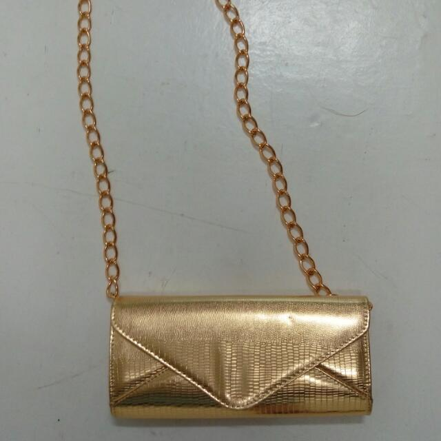 New Golden Large Clutch