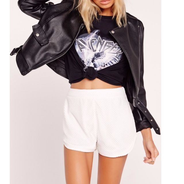 NEW Missguided Petite Exclusive Airtex Running Shorts White