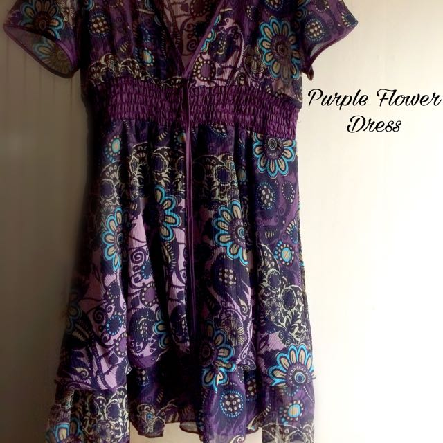 Purple Flower Dress #1212sale