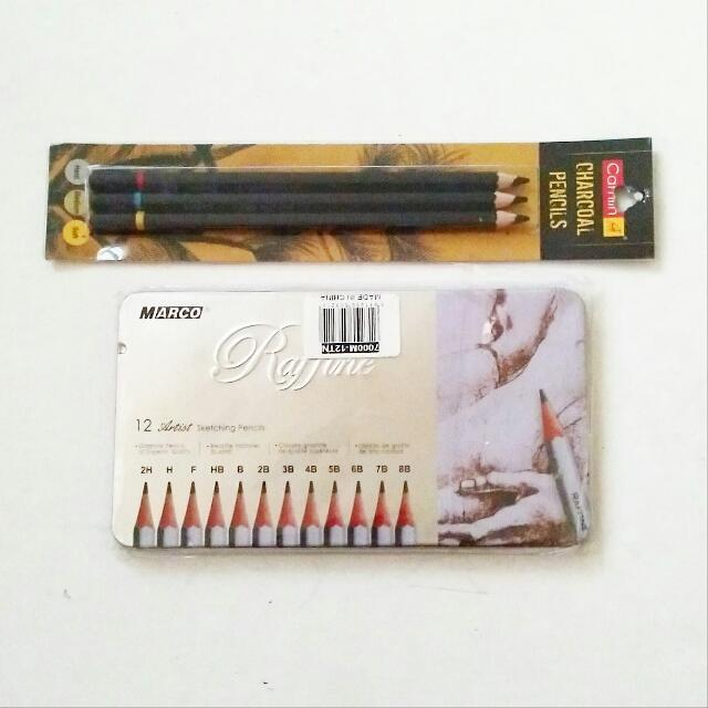 Raffine Artist Pencil Set 12pcs And 3pcs Set Charcoal Pencils