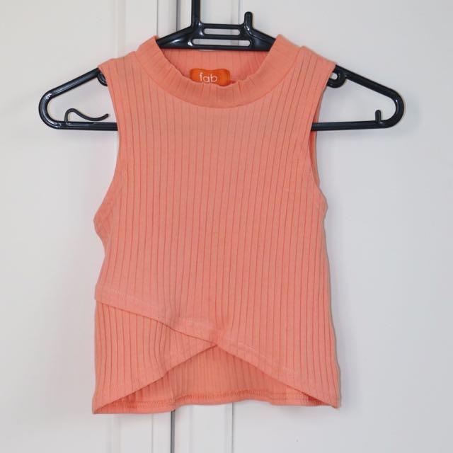Semi-neon Orange Crop Top