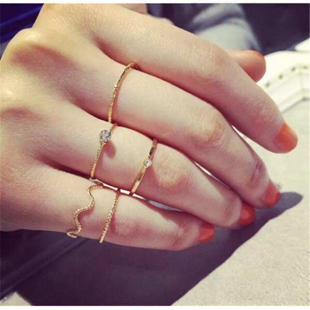 Set Of 5 Pcs Rings