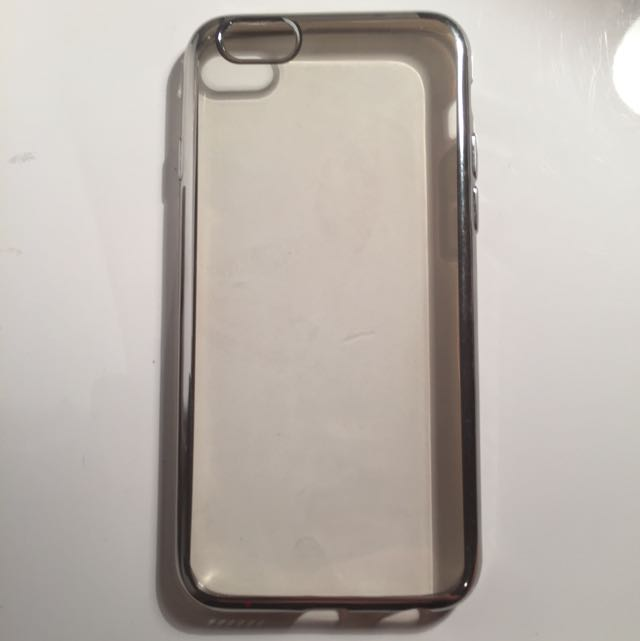 Soft Silicone Clear Case With Silver Bumper