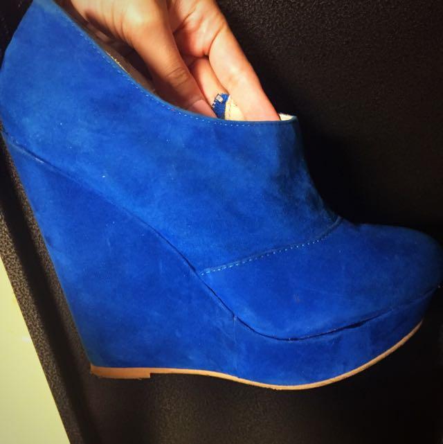 Suede Blue Wedges