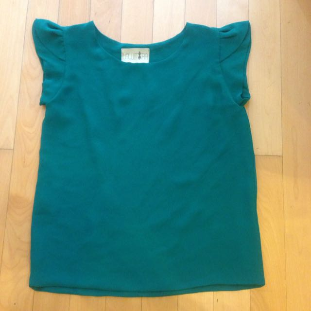 Teal Ruffle Shouders Top