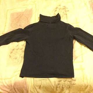 Navy Blue Long Sleeved Turtle Neck
