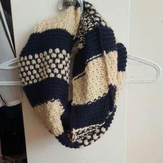 Cream And Navy Circle Scarf