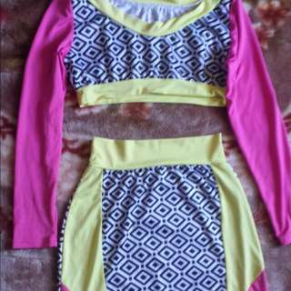 Neon Pink & Yellow Two Piece Set