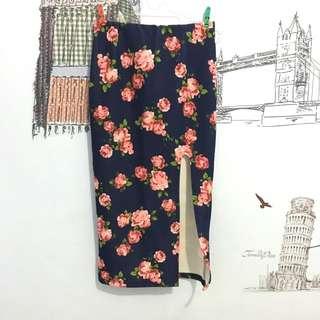 Flower Rose Slit Skirt