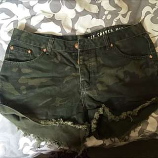 cotton on high waisted camo shorts