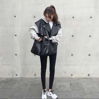 女生韓皮衣棒球外套