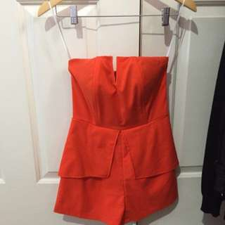 BMWT Orange Boobtube Playsuit