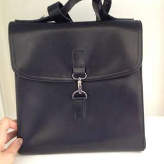 Token Black Faux Leather Backpack