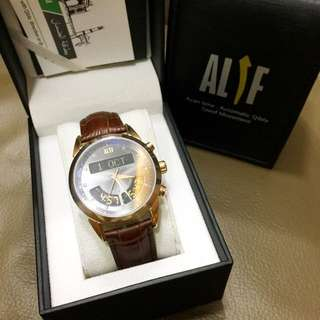New in!: ALIF Luxury Brown Leather Islamic Azan Watch