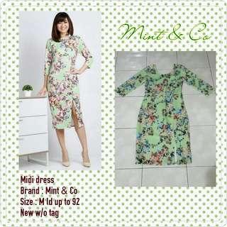 midi dress mint flowery bodycon