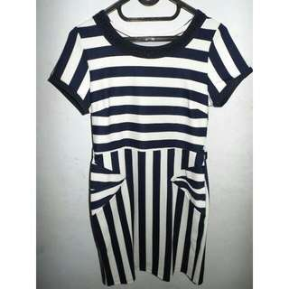 DRESS STRIPED WHITE NAVY