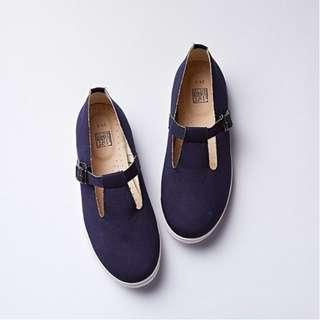 花見小路 T型瑪麗珍平底鞋/古著藍