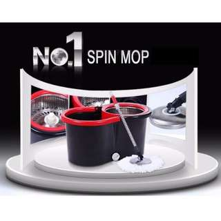 360 Degree Spin Magic Mop (Bucket + SS filter + 1 mop Handle + 2 mop heads)