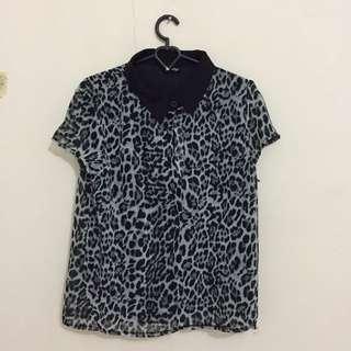 Grey Leopard Blouse