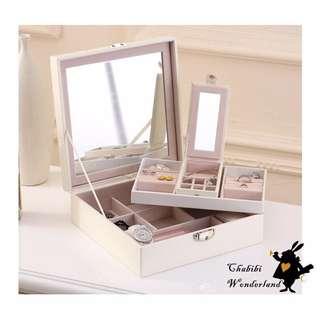 Chabibi ✦超美簡單巴洛克風實用雙層鎖匙飾品盒首飾收納盒戒指耳釘盒(帶鏡子)