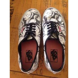 Black And White Flower Vans