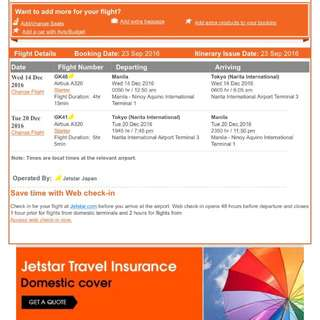 Sale!!! 2 Round Trip Tickets to Japan
