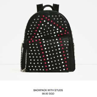 Authentic Zara Backpack with studs