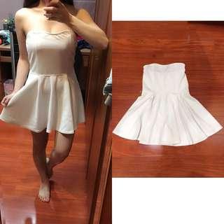 白色平口連身洋裝
