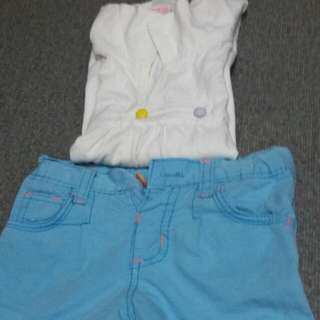 Pair of blouse and shorts