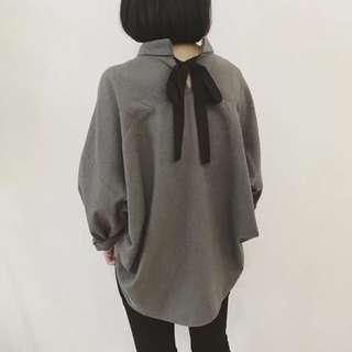 *預*個性甜美磨毛襯衫長袖簡約寬鬆綁帶蝴蝶結oversize