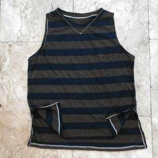 Stripe Blouse W/slit